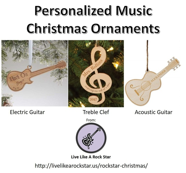 Music themed personalized Christmas ornaments
