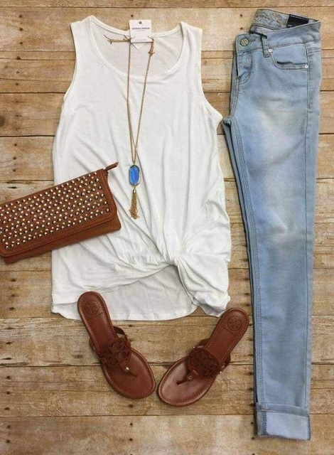 , distressed skinny jean and Tory Burch Miller sandals.  #OOTD #shopthelook #ShopStyle #MyShopStyle #SpringStyle #WeekendLook