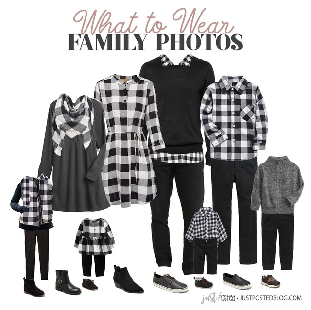 ear for Family Photos with a look featuring black and white buffalo plaid! This look is perfect for fall or Christmas photos!