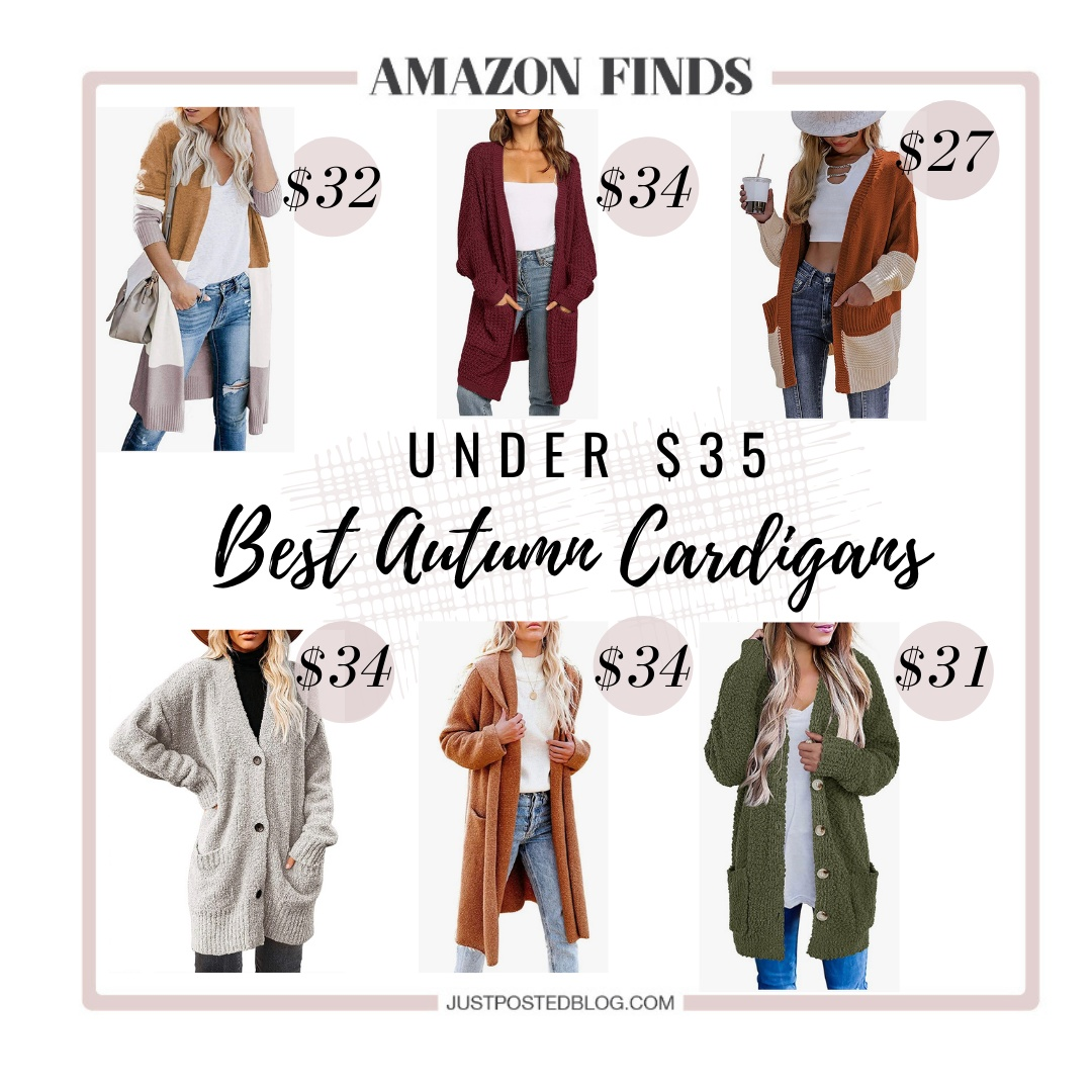 Look by Just Posted featuring CARDYDONY Women's Long Cardigan Open Front Color Block Cardigan Knit Sweaters