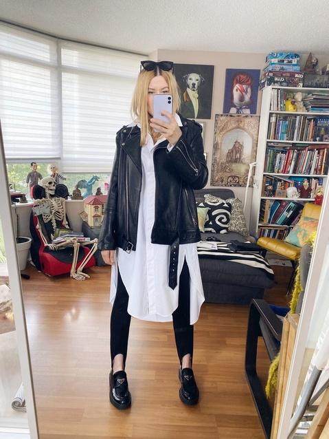 week | Stirrups | Oversized Blouse | Oversized Leather Jacket | Loafers | Sunglasses | livelovesara  #ShopStyle #MyShopStyle