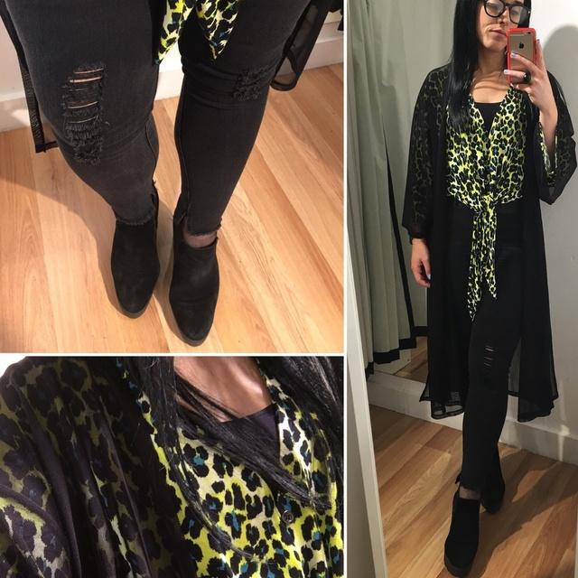 Black, black and bright leopard print #ShopStyle #MyShopStyle #ootd #mystyle #mylook #leopardprint