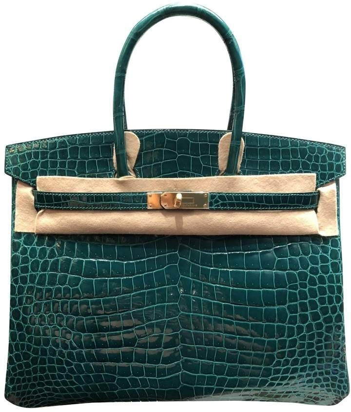 Look by afsanakarim featuring Hermès Hermes Birkin 35 Green Crocodile Handbag