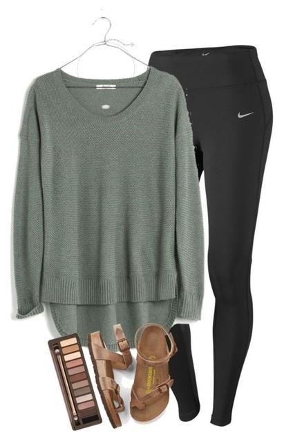 -low sage green sweater. Birkenstocks.  #athleisure #ad #OOTD #shopstyle #MyShopStyle #shopthelook #WeekendLook #TravelOutfit