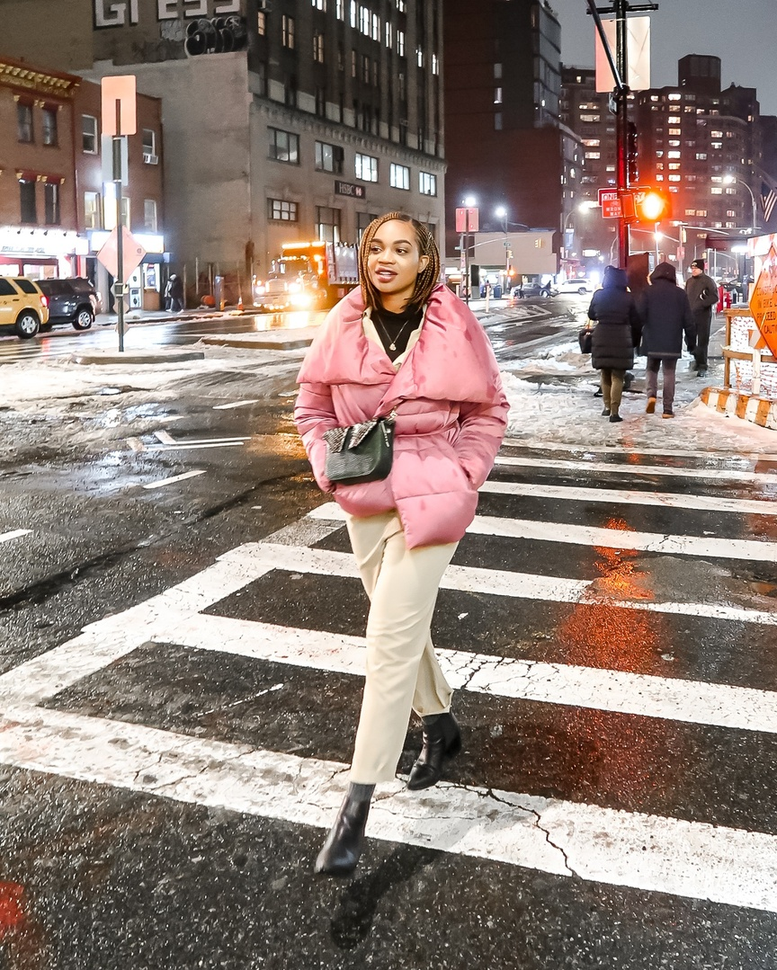 r a pink puffer coat. #ShopStyle #MyShopStyle #LooksChallenge #ContributingEditor #Winter #Pastels #SpringColors #Utilitarian