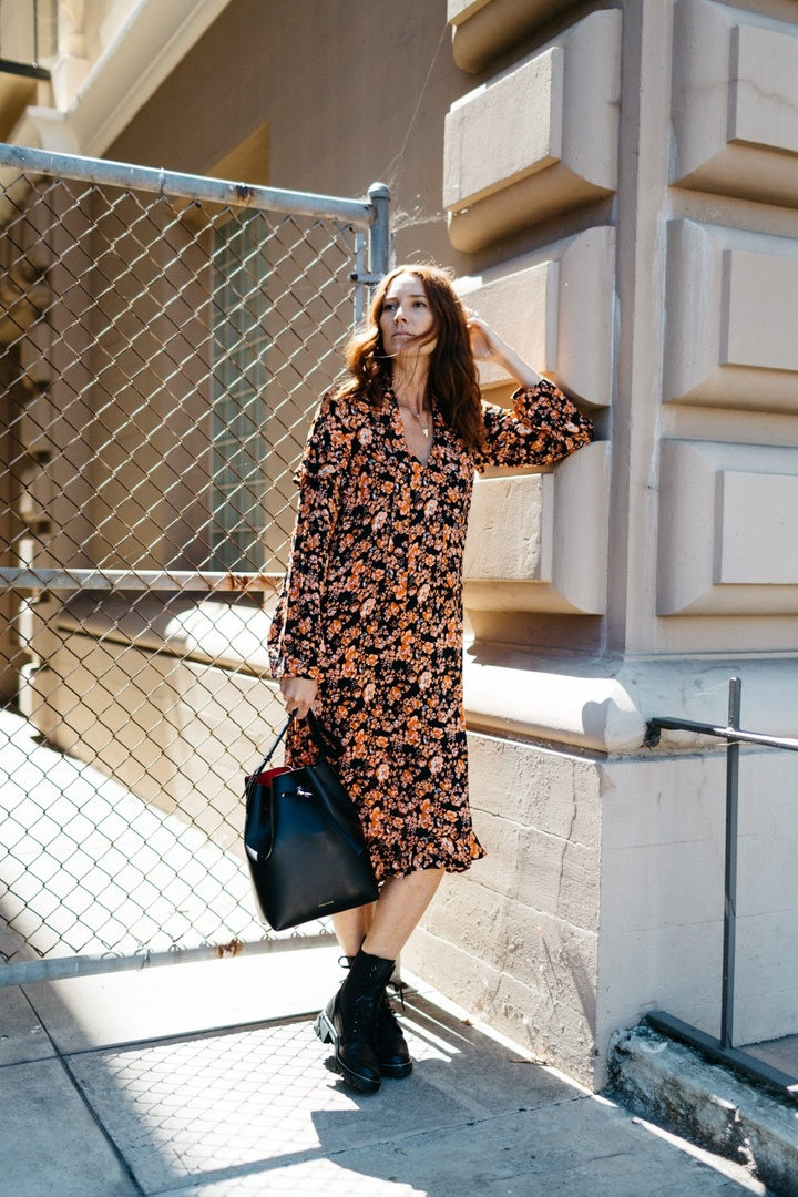 Breaking in some new fall favorites from Mytheresa. #ShopStyle #mytheresa #fallstyle #fallboots #combatboots #fallfloral #falldress #fallhandbag #mansurgavriel #bucketbag #couldihavethat