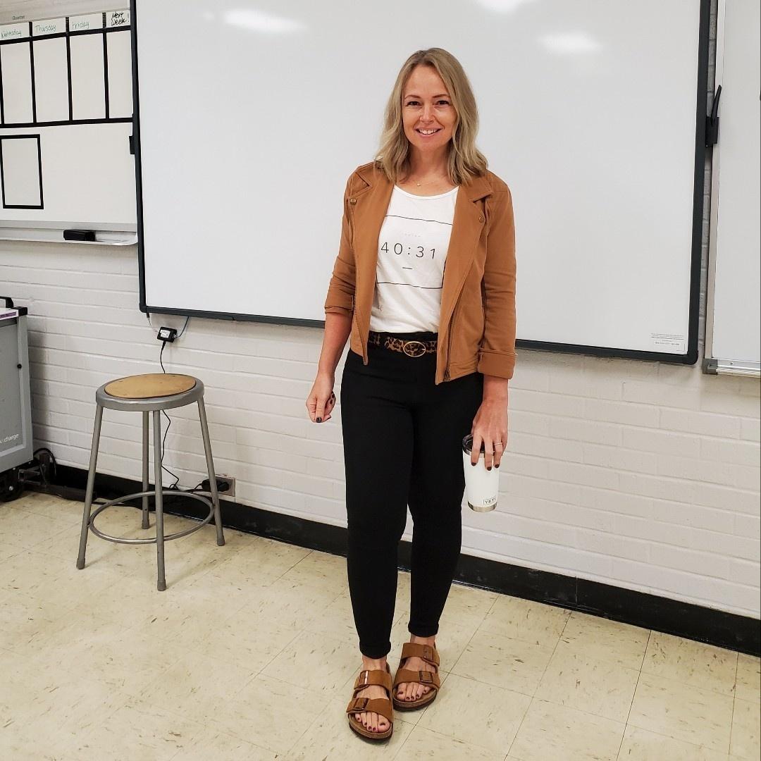 Look by everydayteacherstyle featuring Birkenstock Arizona Soft Footbed (Mink Suede) Shoes