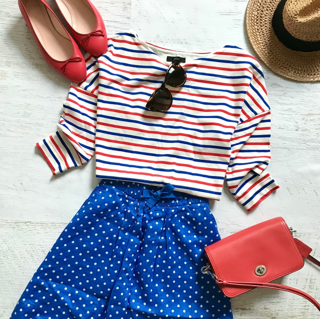 Red, white and blue polka dotted. #ShopStyle #MyShopStyle #Flatlay #Lifestyle #respecttheshoes
