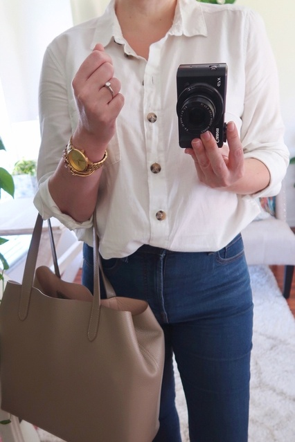 ack to basics in my favorite H&M cotton shirt and Everlane authentic stretch high-rise skinny jeans.  #ShopStyle #MyShopStyle