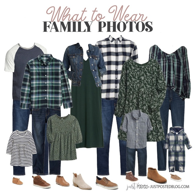 What to Wear for Family Pictures featuring navy and green! This look is perfect for fall or Christmas family photos!