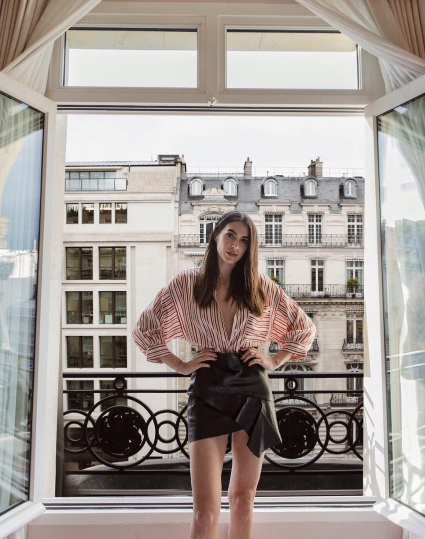 opStyle #shopthelook #MyShopStyle #OOTD #SpringStyle #paris #parisfashionweek #leatherskirt #ruffles #leather #skirt #stripes