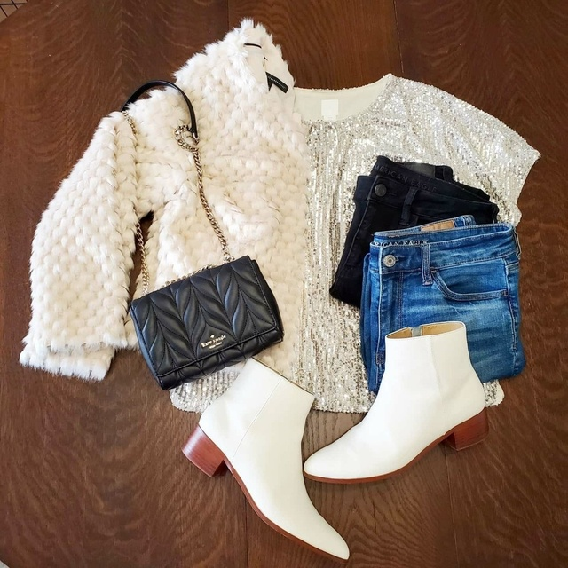 sequined top, jeans, and white boots #ShopStyle #MyShopStyle #Holiday #Winter #Flatlay #whiteboots #jeans #furjacket #winter