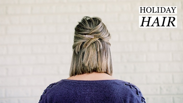A Simple Holiday Hair Tutorial for Short Hair   #MyShopStyle #ShopStyle