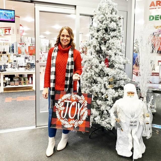 white boots, and a buffalo plaid scarf #ShopStyle #MyShopStyle #Winter #Holiday #buffaloplaid #whiteboots #jeggings #sweater