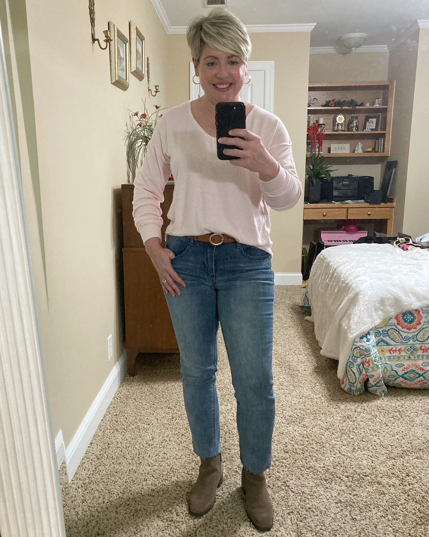Look by Savvy Southern Chic featuring V-Neck Fleece Top