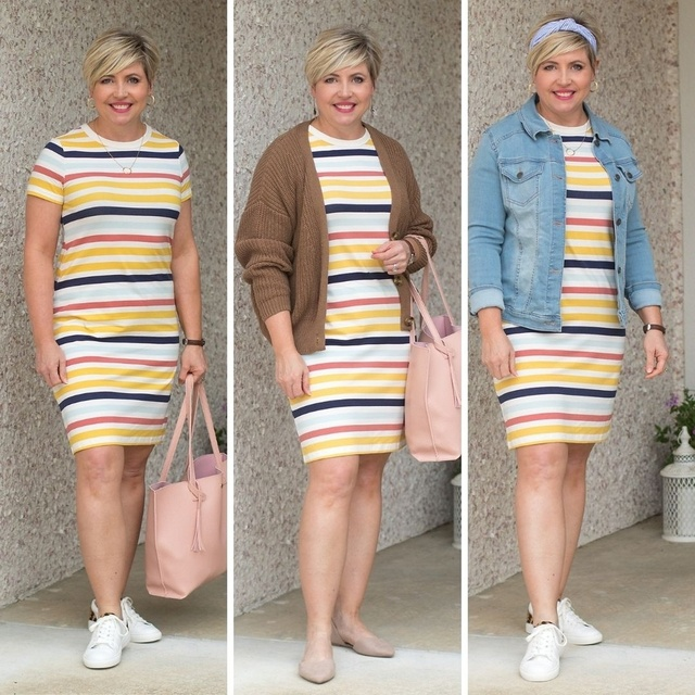 Striped dress three ways #MyShopStyle #casualstyle #springoutfit