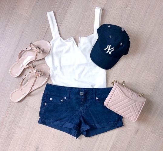 pink together lately.  #yankees #nyyankees #summerfashion #corduroy #shorts #bodysuit #dupes #valentino #rockstud #toryburch