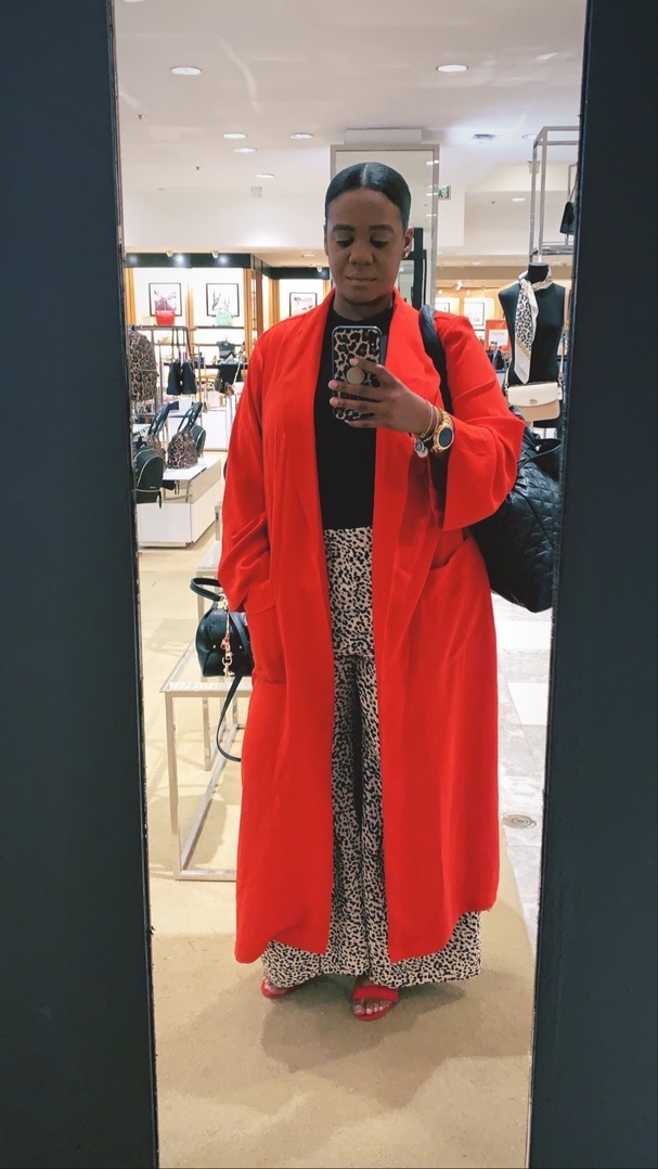 Look by amerikabstyleme featuring Asos Tall ASOS DESIGN Tall duster coat with faux shell trim-Red