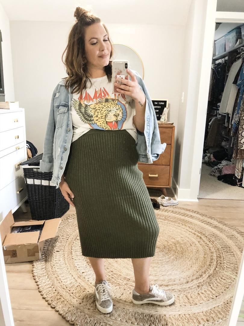 Look by Rebecca Wattenschaidt featuring Women's Rib Sweater Skirt - A New DayTM