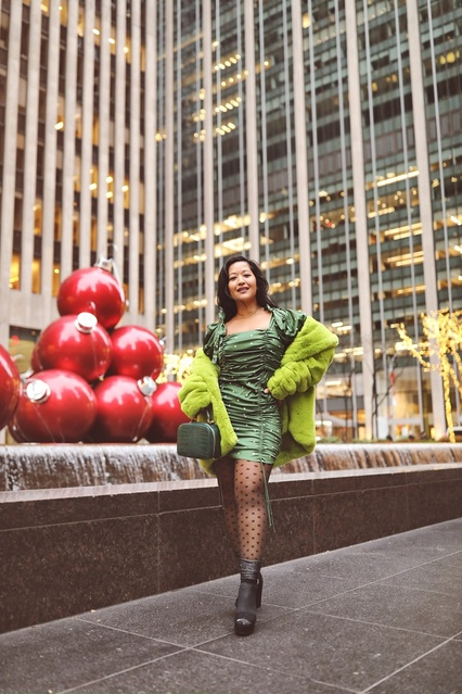 Green Polka Dot dress #polkadot #holidaydress