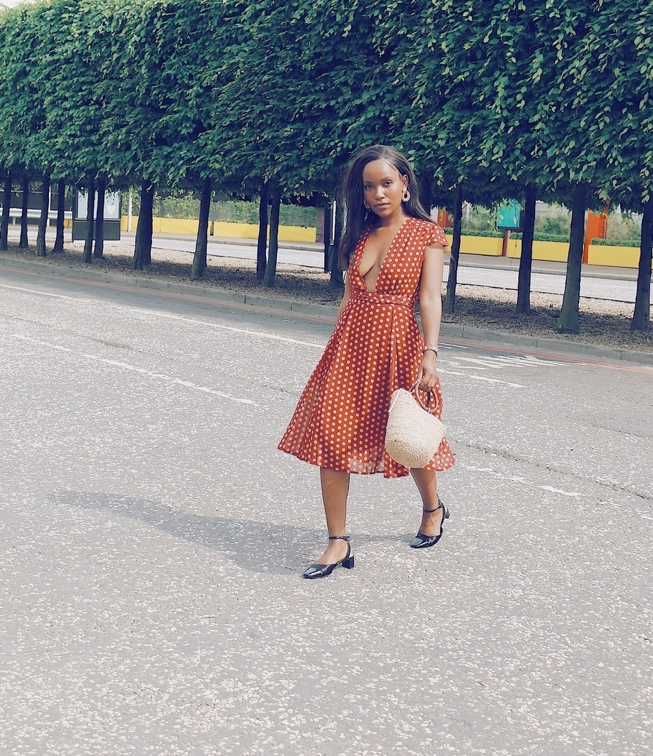 My favourite look to date! This dress makes me feel like I'm in the fifties #outfit#mididress#summerstyle#reddress  #SpringStyle #MyShopStyle #TravelOutfit #shopthelook #ShopStyle #SummerStyle #WeekendLook #NYFW #GirlsNightOut #OOTD