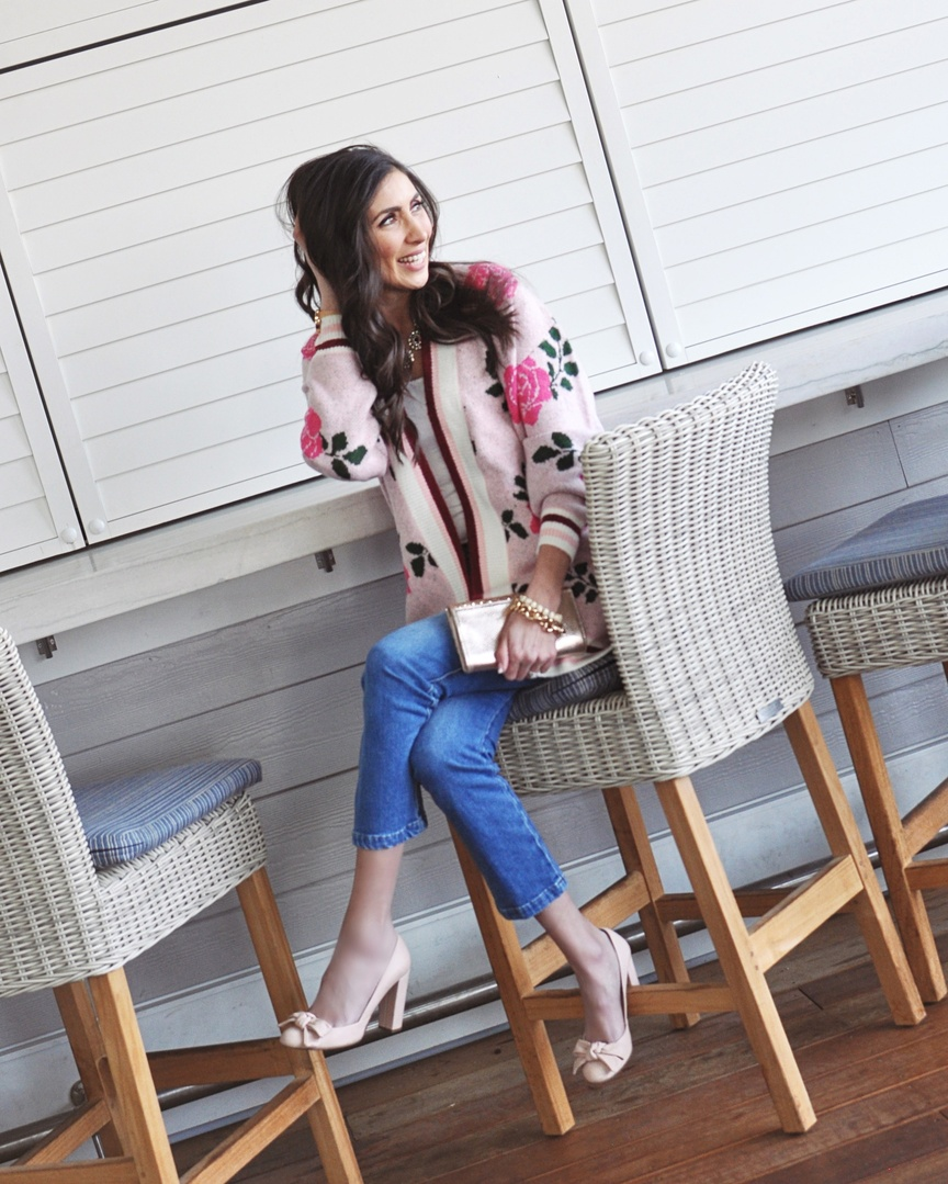 I love this long cardigan for a casual Valentine's look. It is so unique and the large floral knit is so unexpected. I love it styled casually with cropped denim and pumps but I also think you could dress it up by using it as a topper over a dress! It's never too early to start planning your outfit! #ShopStyle #MyShopStyle #LooksChallenge #ContributingEditor #Winter #Holiday #Lifestyle #TrendToWatch #jcrew #nordstrom #frame #goldjewelry #longcardigan #valentinesday #galentinesday #tularosa #revolve #pumps #pink #floral #minneapolisbloggers #covrestaurants #deardawson #outfitinspo #momoutfit #modestfashion #fashioninspiration