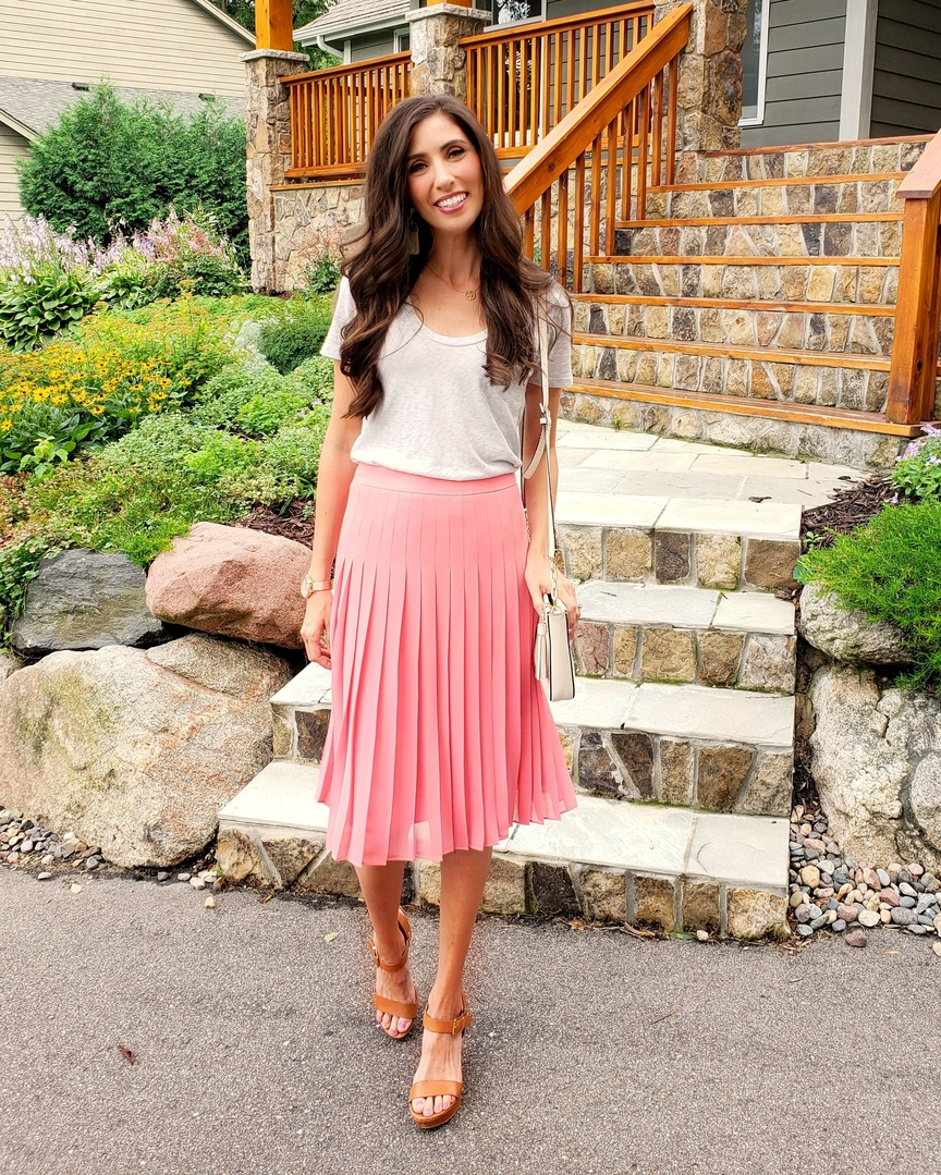 Happy birthday to me! We have been so busy with the move and unpacking but last night we took a break. My husband took me out to dinner for my birthday and I wore my new skirt which is the perfect swingy skirt for summer and it is on sale so grab it before it's gone!   #ShopStyle #shopthelook #SummerStyle #MyShopStyle #DateNight #OOTD #anntaylor #thisisann #oliviaburton #wiw #birthday #momoutfit #outfitgoals #chicstyle #whatiwore #mystyle #fashiondiary #pleatedskirt #pink #momoutfit #wedgesandals #minneapolisblogger #fashionblogger #influencer #midiskirt #onsale #shopthesale #outfitgoals #casualoutfit #kendrascott #chandelierearrings