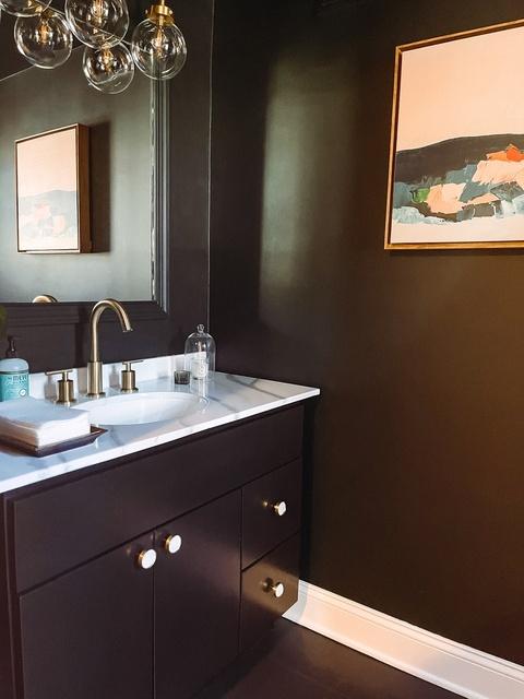 dark & moody powder room transformation  #askashmash #powderroomdesign #powderroomtransformation