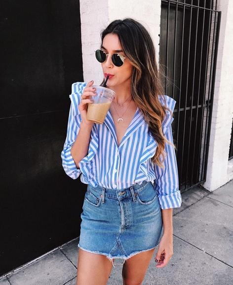 morning coffee run in my new top ☕️ #wearitloveit #summerstyle #lookoftheday #getthelook #ootd #mylook #todaysdetails #ShopStyleFestival #whowhatwear #target #stripes #denim #denimskirt #rayban
