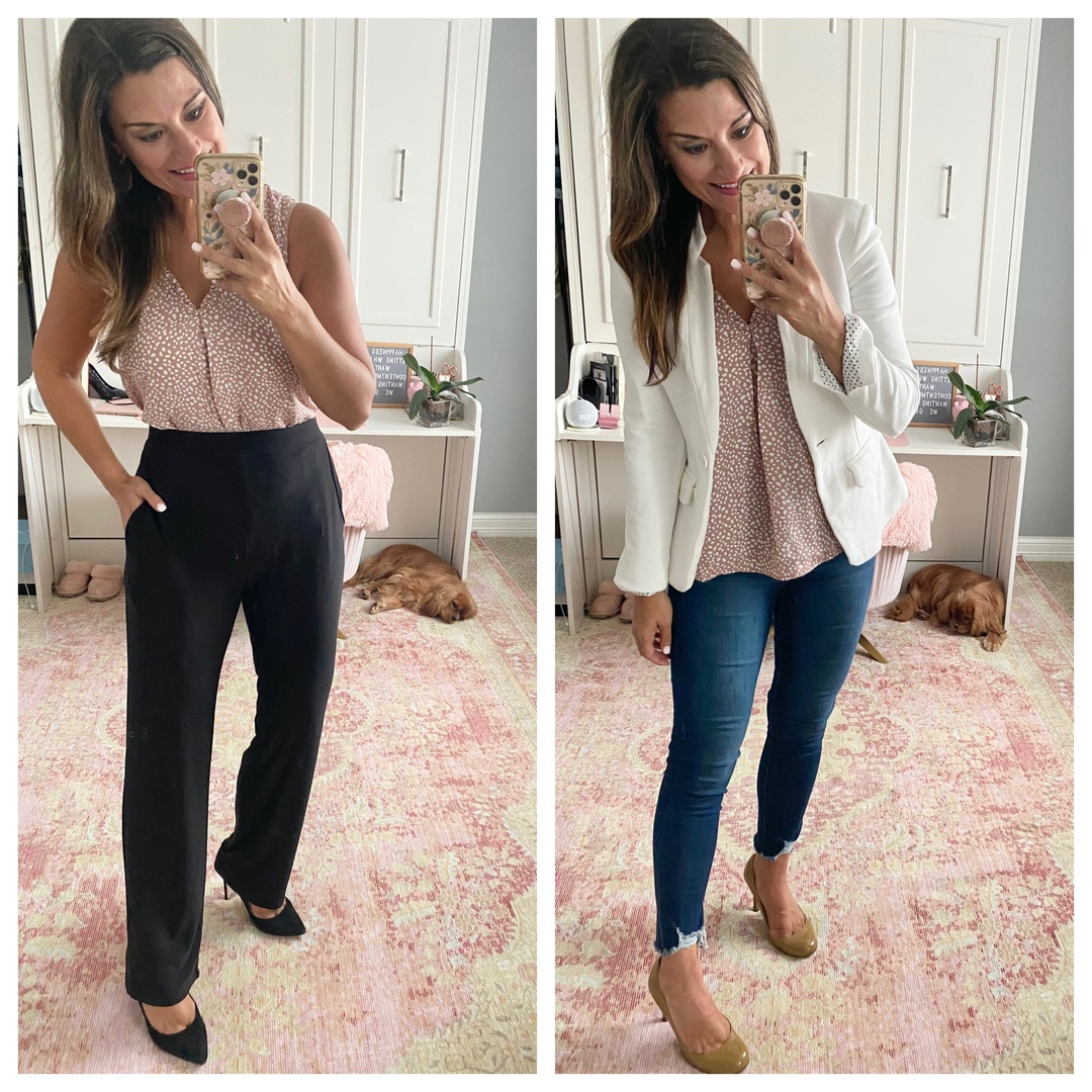 Look by Just Posted featuring Ruffle Detail V-Neck Shell
